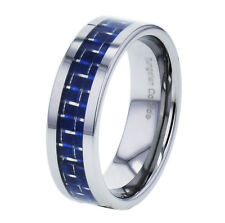 8mm Tungsten Men's Blue Carbon Fiber Dome Top High Polish Band Ring
