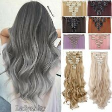 US Real Full Head Clip In Hair Extensions Ombre Color 8pcs/set as Human Hair FHn