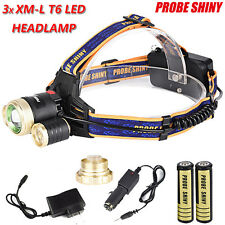 15000LM 3x LED CREE XM-L T6 18650 Headlamp ZOOMABLE Head Light+Battery+Charger