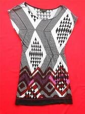 ONE CLOTHING ~  Geometric Pattern Black Pink Tunic Style Top  ~ Size SMALL S