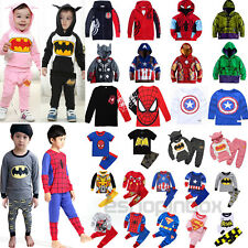 Boys Batman Spiderman Hoodie Shirt Top Trousers Kids Outfits Pajamas Set Costume