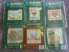 """YOUR CHOICE: SUNSET DESIGNS VINTAGE COUNTED/STAMPED CROSS STITCH KITS 5"""" x 7"""""""