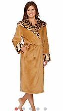 NEW WOMENS XL TIGER DENNIS BASSO SNUGGLY PLUSH & FAUX FUR HOODED ROBE H206785