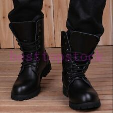 Mens PU Leather Lace Up Combat Boots High Top Military Furry Lining Ankle Shoes