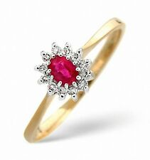 Ruby and Diamond Ring Yellow Gold Cluster Engagement Size F - Z Certificate