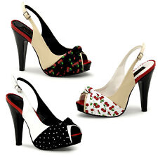 """PLEASER BETTIE PIN UP COUTURE 4 1/2"""" HIGH HEEL SLING BACK SHOES CLEARANCE"""