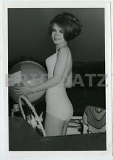 1960's Photo~gorgeous brunette pin-up girl,swimsuit with beach ball, 5x7, m66868