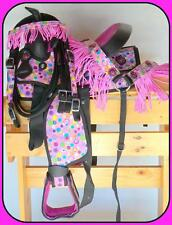 "10"" 12"" Western Synthetic Mini Pony Saddle Trail Pleasure 4pc PINK Polka dots"