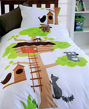 100% Cotton APPLIQUED Tree House Children Quilt Doona Cover Set - SINGLE DOUBLE