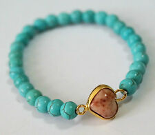 NICE HEART NATURAL EARTHLY JADE 24K GOLD PLATED BRASS*TURQUOISE STRETCH BRACELET