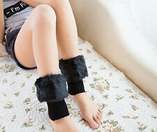 Women's Knitted Sock Boot Topper Winter Leg Warmer Faux Fur Trim