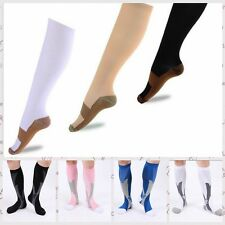 Unisex Compression Wide Calf Knee-High Support Socks Hose - 3 Pair Bright Colors