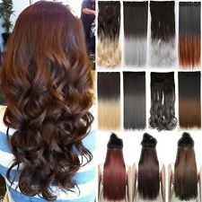 Long Real as Remy Clip In Hair Extensions Half Full Head 100% Natural Hair T85
