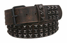 Snap On Three Row Punk Rock Star Black Studded Cowhide Leather Hammered Belt