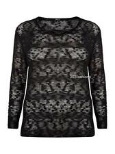 SAMYA PLUS SIZE STRIPED SHEER KNIT JUMPER CARDIGAN TOP 16 18 20 22 24 26 28