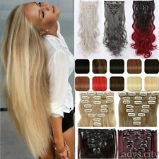 Extra THICK Clip In Hair Extensions Long Curly Straight  piece Human Favored fc6