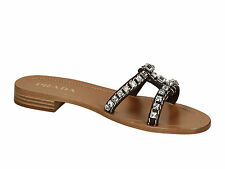 Prada women flat slipper sandals in brown leather with rhinestones made in Italy
