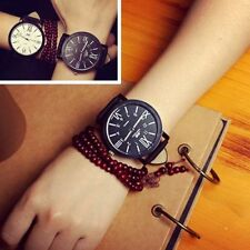 Casual Stainless Steel Dial Leather Band Analog Quartz Sport Wrist Watch #IC US