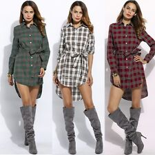Women Casual Turn-down Collar Lapel Long Sleeve Plaid Shirt Asymmetric Hem Dress