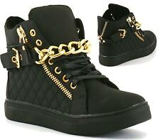 WOMENS LADIES GIRLS LACE UP FLAT HI HIGH TOP GOLD CHAIN QUILT PUMPS TRAINERS SIZ