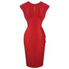 Hell Bunny Bernadette Red 50s Sarong Style Pinup Pencil Dress UK