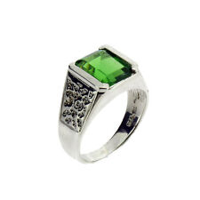 Square Stone Green Helenite Sterling Silver Ring Jewelry