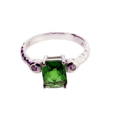 Faceted Green Helenite and CZ Sterling Silver Ring Jewelry
