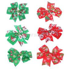 5pcs Christmas Snowflake Hair Bow Clips Kids Girls Hair Accessories Xmas Gift