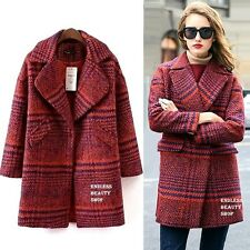 Vintage Tweed Warm Wool Plaid Coat Womens Tartan Checked Long Jacket Two colors
