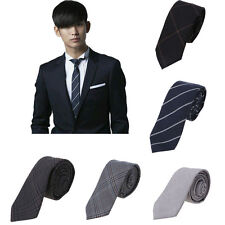 Fashion Charm Cool Stripe Plaid Necktie Cotton Slim Skinny Tie Casual Narrow Men