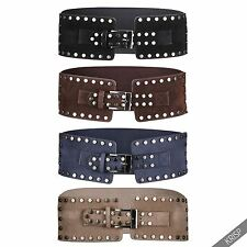 Womens Wide Studded Elastic Stretch Boho Belt Waist Band Ladies Hip Obi Cincher