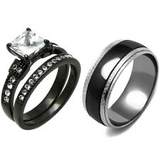 3 PCS Couple Princess CZ Black IP Stainless Steel 2 Rings Set/Mens Matching Band