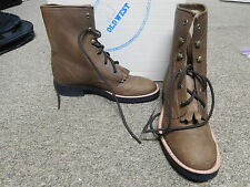 Girl's Old West Brown Lace Up Leather Boots - New