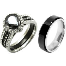 3 PCS Couple Black Pear Cut CZ Stainless Steel 2 Rings Set/Mens Spinning Band