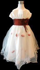 White Burgundy Wedding Flower Girls Pageant Party Dress Briadsmaid Gown Age 2-13