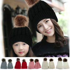Mother & Child 2 Pcs Baby Beanie Warm Winter Fur Pom Crochet Ski Cap Knit Hat