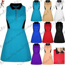 Womens Sleeveless Zip Up Front Collared Contrast Swing Party Mini Skater Dress