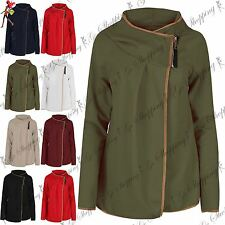 Ladies Womens Long Sleeve Hooded Front Zip Up Wrap Top Cape Cardigan Jumper Top