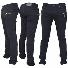 Seven Series Mens Branded Designer Zipped Trousers Skinny Slim Fit Biker Jeans