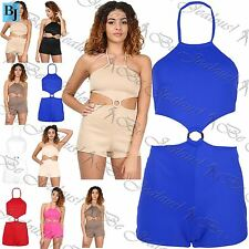 Womens Ladies All In One Silver Ring Halter Neck Tie Backless Shorts Jumpsuit