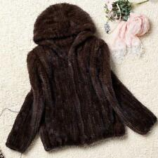 High Quality  Knitted synthetic Mink Fur Hood Coat Jacket Outwear Hot Sz
