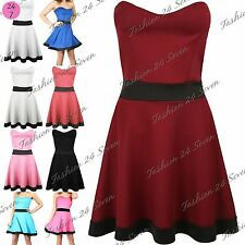 Ladies Womens Panel Contrast Bandeau Strapless Flared Boobtube Skater Mini Dress