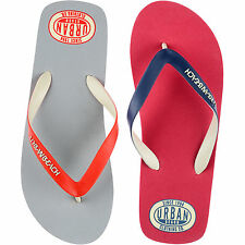 MENS URBAN BEACH FLIP FLOPS SANDALS SIZE UK 6 - 11 POOL GREY RED AMOCO FW738/9