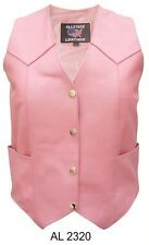 Ladies Pink Cowhide Leather Motorcycle Vest Allstate Leather AL2320 XS-5X New