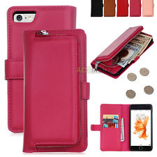 Luxury PU Leather Flip Wallet Card Holder Stand Case Cover for iPhone Samsung