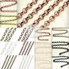 4M/2M Unfinished Chains Rollo Chains DIY Necklaces Pendants 4 Sizes 5 Colors