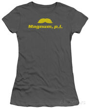 Juniors: Magnum PI-The Stache Apparel Juniors (Slim) T-Shirt - Charcoal