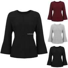 Autunm Women Casual Crew Neck Long Batwing Sleeve Solid Knitted Pullover Sweater