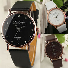 new Leather Crystal Watches Stainless Steel Quartz Analog Women Wrist Watch