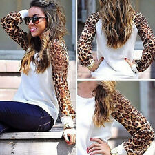 Fashion Womens Leopard Tops Casual Long Sleeve T-shirt Loose Cotton Blouse New